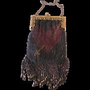 Vintage Micro Beaded Heart Purse - Early Twentieth Century