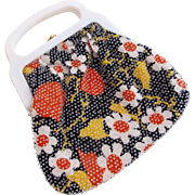 Bright Flower Cloth Purse with Lucite Handle - Hong Kong