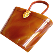 Wilardy Caramel Lucite Purse with Slanted Lid