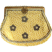 REDUCED Belgium Beige and White Beaded Clutch Purse