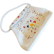 Hong Kong White Glass Bead and Multicolor Embroidered Handbag / Purse