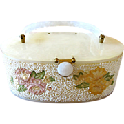 Lucite White Marbleized Purse with White Beads and Embroidered Flowers