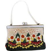 Vintage White Beaded Flower Purse