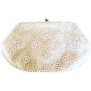 Magid Japan White Flower Bead Purse
