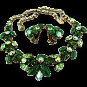 Regency Green Rhinestone Choker Necklace and Earring Set