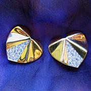 Nina Ricci Heart Shaped Clip Earrings with Rhinestone Accents