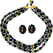 Vintage Robert Black and Carnival Bead Necklace and Earring Set