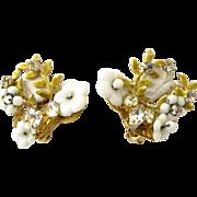 REDUCED Signed Robert White Bead Flower Clip earrings