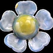 Original By Robert Aqua Enamel Flower Pin
