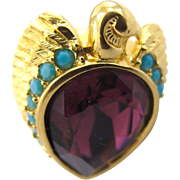 REDUCED Elizabeth Taylor for Avon Falcon Ring - Size 7 - Book Piece