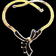 Trifari Kunio Matsumoto Black Enamel Bow Choker Necklace