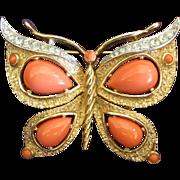 Crown Trifari Faux Coral Butterfly Pin