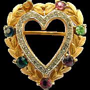 Trifari Rhinestone Heart Pin - Book Piece
