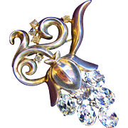 Trifari Clear Rhinestone Grape Cluster Dangle Brooch - Book Piece