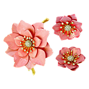 Crown Trifari Pink Enamel Poppy Flower Pin with Earrings - Advertisement Piece
