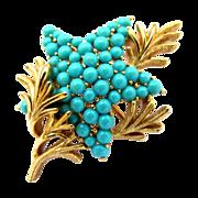 Crown Trifari Faux Turquoise Starfish Pin