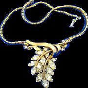 Trifari Pat. Pending Rhinestone Leaf Necklace