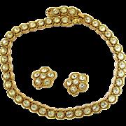 Crown Trifari Headlamp Rhinestone Choker Necklace and Earring Set