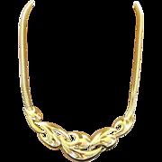 Trifari Kunio Matsumoto Modernist Gold Plated Choker Necklace