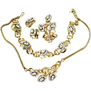 Trifari Alfred Philippe Clear Rhinestone Grand Parure - Book Piece