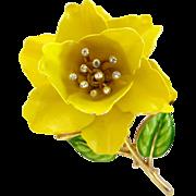 Crown Trifari Yellow Rose Enamel Flower Pin - Advertisement Piece