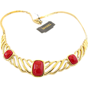 REDUCED Trifari Gold Tone and Red Cabochon Choker Necklace - Original Tag