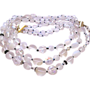 Trifari Frosted White Glass Bead Necklace