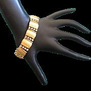 REDUCED Crown Trifari Clear Rhinestone and Brushed Gold Tone Bracelet