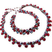 REDUCED Trifari Red and Gray Rhinestone Necklace and Bracelet Set