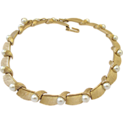 Crown Trifari Brushed Gold Trifarium and Faux Pearl Choker Necklace