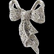 Rare Trifari Rhinestone Bow Brooch in Silver Trifarium
