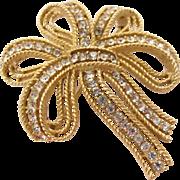 Trifari Cavalcade Gold Tone Bow Pin - Large