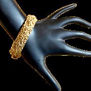 Trifari Gold Tone Nugget Clamper Bracelet