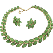 REDUCED Trifari Green Cabochon Laurel Leaf Necklace and Earring Set