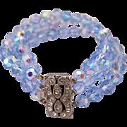 REDUCED Vintage Blue Crystal Bead Bracelet - Three Strands
