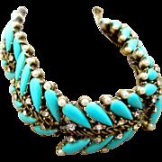 Vintage Turquoise Blue Lucite Teardrop Link Bracelet