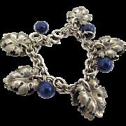 REDUCED Vintage Silver Tone Grape Leaf Charm Bracelet