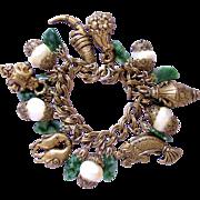 REDUCED Vintage Brassy Tone Charm Bracelet
