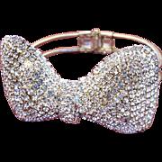 Vintage Clear Rhinestone Bow Clamper Bracelet