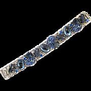 Vintage Blue Molded Art Glass Book Chain Silver Tone Bracelet