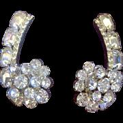 Flower Spray Clear Rhinestone Comma Clip Earrings