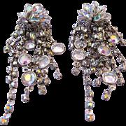 Aurora Borealis Cluster Dangle Clip Earrings