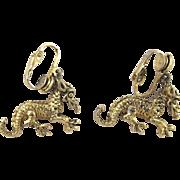 Vintage Clip Dragon Earrings