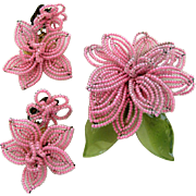 Vintage Pink Glass Seed Bead Flower Pin and Earring Set