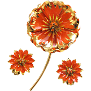 Vintage Orange Mum Enamel Flower Pin and Earring Set