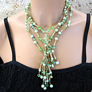 Vintage Faux Green Pearl and Crystal Dangle Necklace and Earring Set