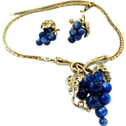 Vintage Blue Lucite Grape Cluster Necklace and Earrings Set