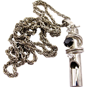 SALE Vintage Silver Tone Rhinestone Whistle Pendant