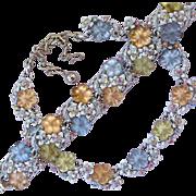Vintage Pastel Molded Glass Flower Necklace and Bracelet Set