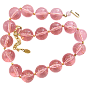 Vendome Pink Lucite Bubble Necklace